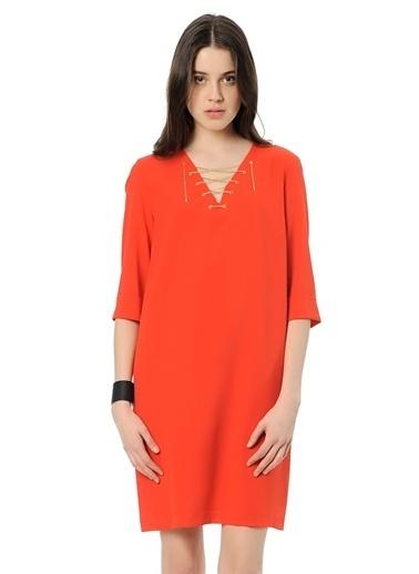 Cotton Bar Yakası Bağcıklı Kısa Elbise Kırmızı
